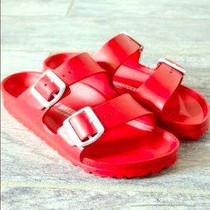 cute bright red birkenstock's never worn